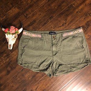 American Eagle Outfitters army green boho shorts